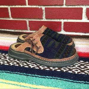 Southwestern Indian Blanket & Leather Mules Slides